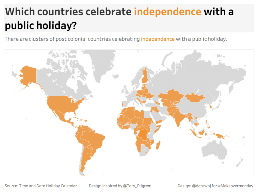 Independence Holidays Filled Map