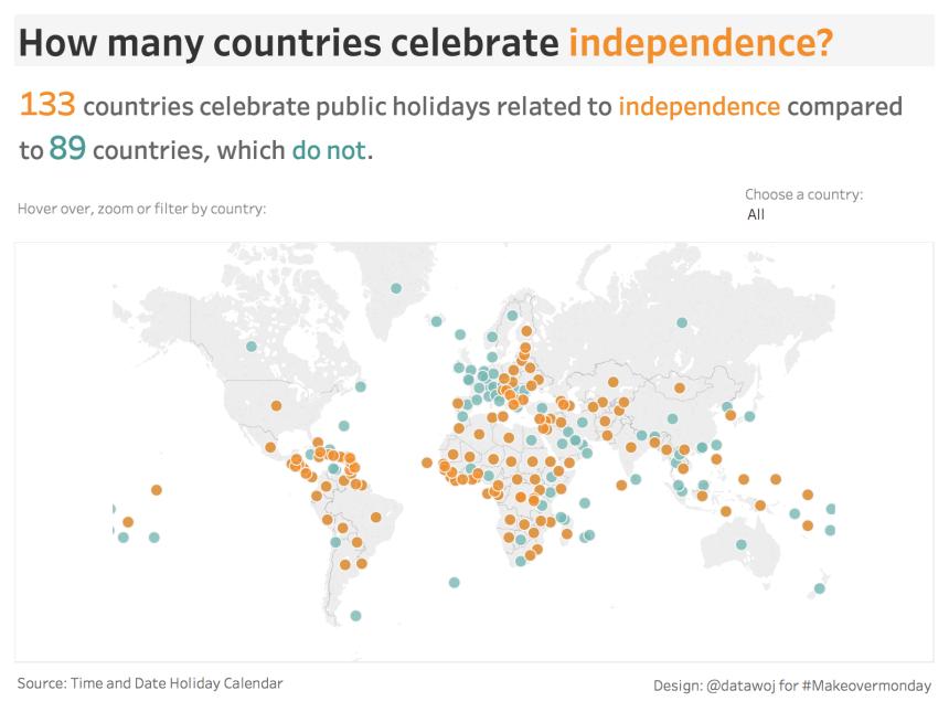 Independence Holidays Symbol Map